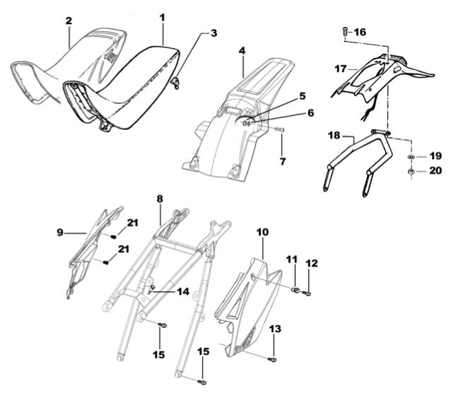 Sub Frame + Rear Mudguard + Seat