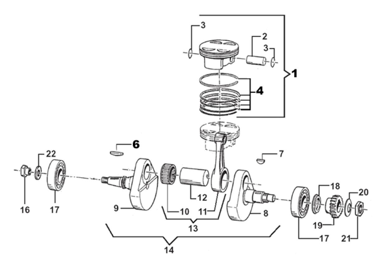 Crankshaft + Piston END-MX-SMR-SMM
