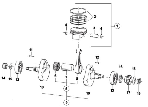 Crankshaft + Piston END-SMR-SMM