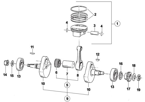 Crankshaft + Piston MX-Flat Track