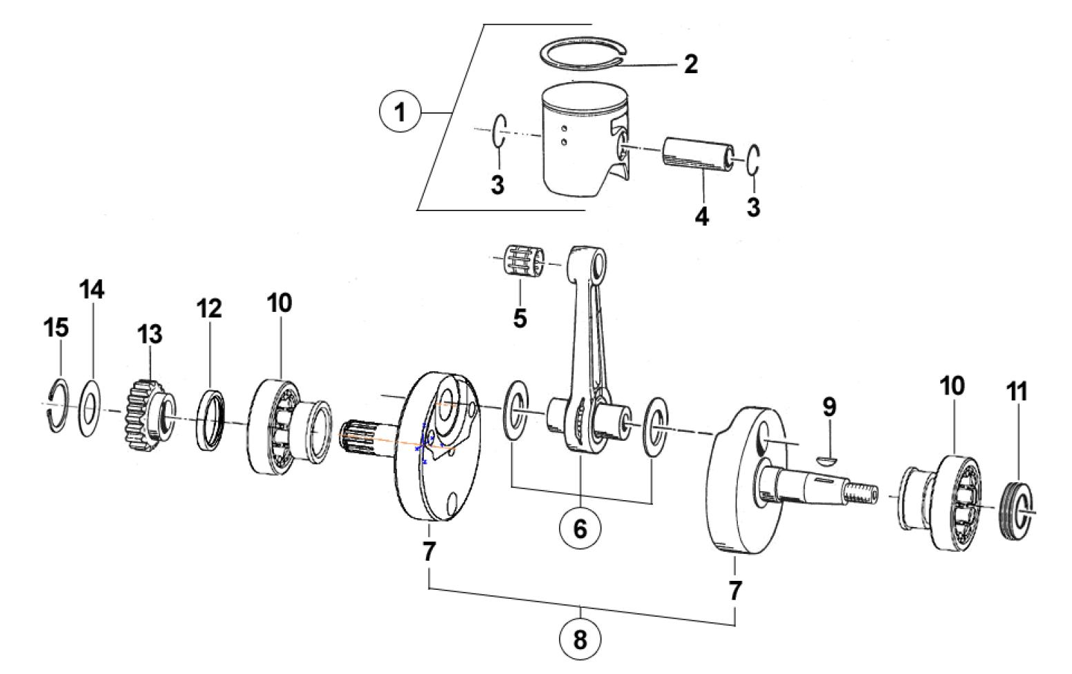 Crankshaft + Piston 250cc
