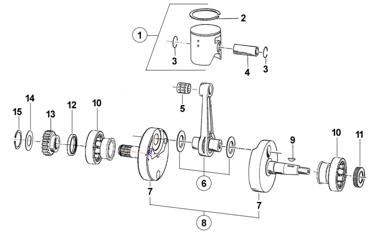 Crankshaft + Piston 300cc